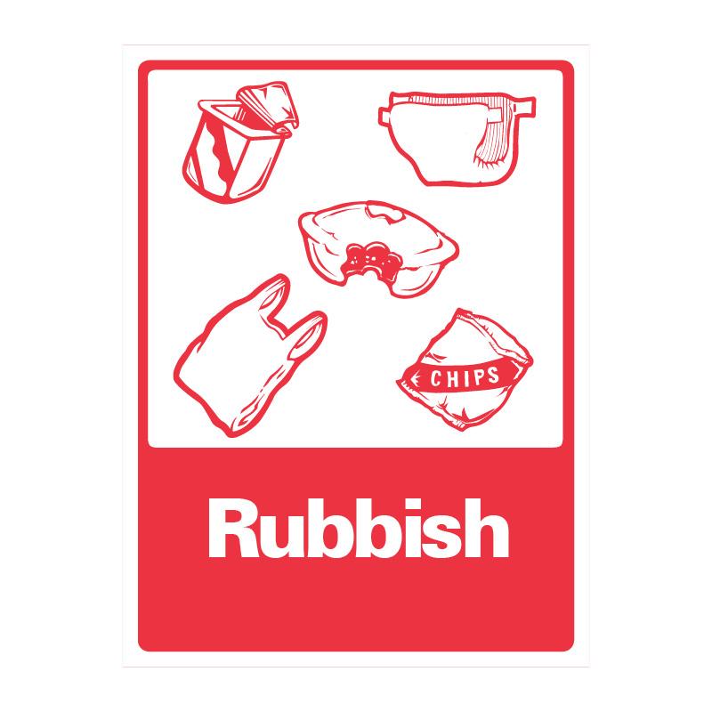 Rubbish Sign Red Amp White